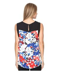 Vince Camuto - Blue Sleeveless Nautical Blooms Blouse With Solid Contrast - Lyst