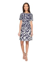 Adrianna Papell - Blue Printed Dancing Sticks Scuba Crepe No Waist Fit And Flare Dress - Lyst