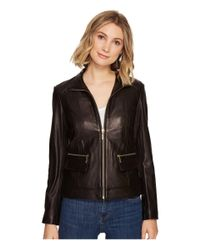 """Cole Haan - Black 23"""" Zip Front Wing Collar Jacket With Exposed Zip Pockets & Pocket Flaps - Lyst"""