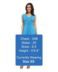 Mod-o-doc - Blue Cotton Modal Spandex Jersey Empire Shirred V-neck Maxi Dress - Lyst