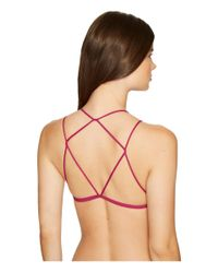 Free People - Pink High Neck Strappy Back Bra - Lyst