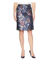 Tahari - Black Floral Jacquard Portrait Collared Skirt Suit - Lyst