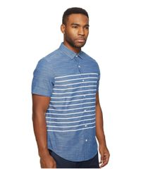 Original Penguin - Blue Short Sleeve Printed End On End Woven Shirt for Men - Lyst