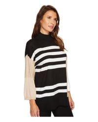 Vince Camuto - Black Drop Shoulder Color Blocked Turtleneck Sweater - Lyst