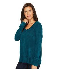 Mod-o-doc - Blue Chenille Sweater Knit Forward Seam Long Sleeve Sweater - Lyst