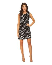 Adrianna Papell - Black Embroidered Floral Chiffon Shift Dress - Lyst