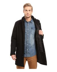 Marc New York - Black Stanford Pressed Wool Car Coat With Removable Quilted Bib for Men - Lyst