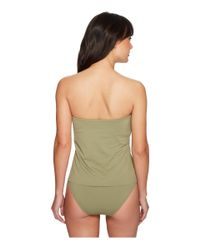 Vince Camuto - Green Riviera Solids Draped Bandini Top W/ Soft Cups & Removable Strap - Lyst