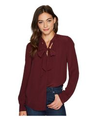 Lucky Brand - Red Tie Neck Top - Lyst