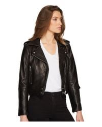 Blank NYC - Real Leather Moto Jacket In Black Smoke - Lyst