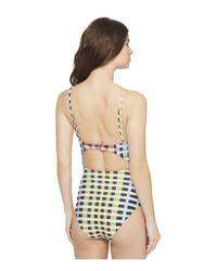 Mara Hoffman - Multicolor Plaid Tie Front One-piece - Lyst
