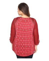 Lucky Brand - Red Plus Size Border Print Top - Lyst