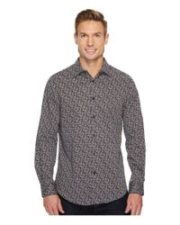 Perry Ellis - Gray Long Sleeve Printed Leaf Shirt for Men - Lyst