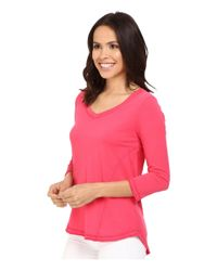 Mod-o-doc - Pink Supreme Jersey Seamed V-neck Long Sleeve Tee - Lyst