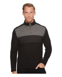 Calvin Klein - Black Color Blocked Chest Stripe 1/4 Snap Knit for Men - Lyst
