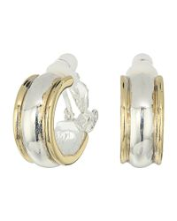 Lauren by Ralph Lauren - Multicolor Back To Basics Ii Two-tone Wedding Band Clip Hoop Earrings - Lyst