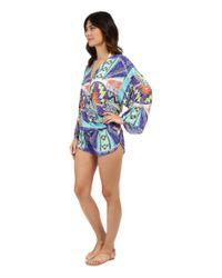Vitamin A - Blue Kimono Romper Cover-up - Lyst