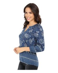 Lucky Brand - Blue Watercolor Floral Top - Lyst
