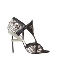 L.A.M.B. - Black Excite Printed Calf-hair Sandal - Lyst