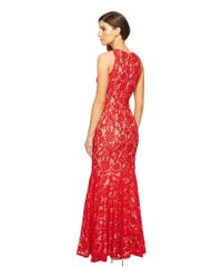 Aidan Mattox - Red Long Stretch Lace Gown With Godet Hem - Lyst