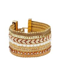 Guess - Metallic Wide Mixed Media Chain Luxe Bracelet - Lyst