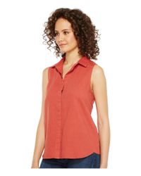 3665621a0fe284 Lyst - NYDJ Garment Dye Linen Sleeveless Top in Red