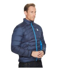 Spyder - Blue Geared Full Zip Synthetic Down Jacket for Men - Lyst