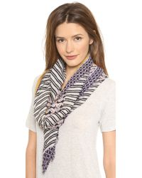 Tory Burch - Blue Halland Stripe Calyx Scarf Navy Multi - Lyst