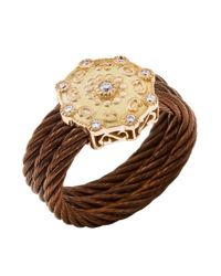 Charriol | Metallic Women'S Celtique Rose 18K Gold And Bronze-Tone Diamond .13Tcw Ring | Lyst