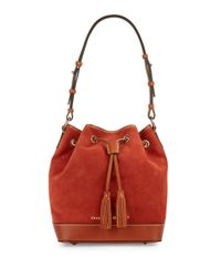 Dooney & Bourke | Orange Suede Drawstring Bucket Bag | Lyst