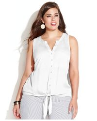INC International Concepts | White Plus Size Sleeveless Tie-front Button-down Shirt | Lyst
