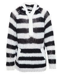 Saint Laurent | Black Hooded Striped Wool & Mohair Sweater for Men | Lyst