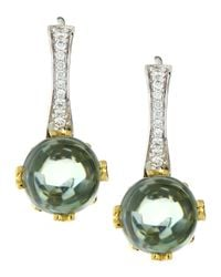 Frederic Sage | Green Jelly Bean Round Praziolite & Diamond Earrings | Lyst