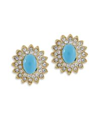Kenneth Jay Lane | Blue Turquoise Cabochon Clip Earring | Lyst