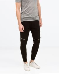 Zara | Black Biker Trousers for Men | Lyst