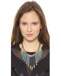 Adia Kibur - Beaded Fringe Necklace Blue Multi - Lyst