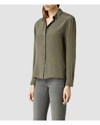 AllSaints | Brown Rivet Shirt | Lyst