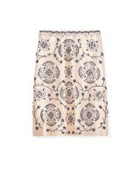 Tory Burch | Pink Embellished Silk Gazar A-line Skirt | Lyst