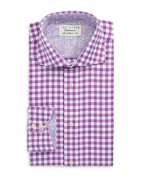 Ted Baker | Purple Checkered Button Down Shirt for Men | Lyst
