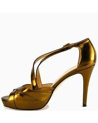 kate spade new york - Metallic Get - Leather Platform Strappy Sandal - Lyst
