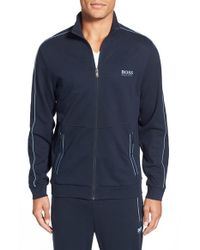 BOSS - Blue Cotton Blend Track Jacket for Men - Lyst