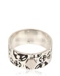 Alexander McQueen - White Enamel And Brass Skull Bracelet - Lyst
