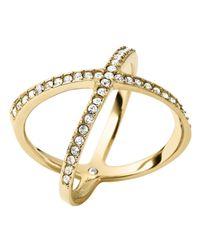 Michael Kors | Metallic Pavé X Midi Ring | Lyst