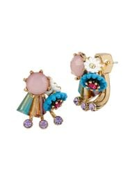 Betsey Johnson | Metallic Weave And Sew Mismatched Cluster Stud Earrings | Lyst