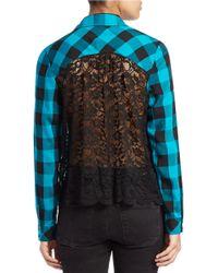 Kensie | Blue Plaid Lace-back Shirt | Lyst