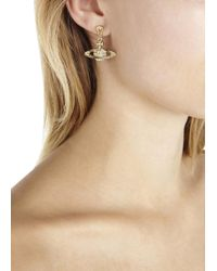 Vivienne Westwood - Metallic Gold Tone Swarovski Orb Earrings - Lyst