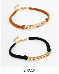 ASOS - Black Pack Of 2 Curb Chain Suedette Anklets - Lyst