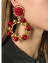 Dolce & Gabbana | Metallic Beaded Hoop Clip-On Earrings | Lyst