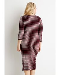 Forever 21 - Purple Plus Size Ribbed Knit Stripe Dress - Lyst