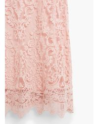 Mango - Pink Lace Detail Gown - Lyst